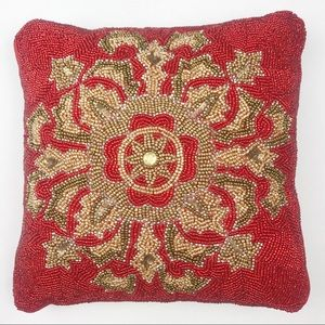 Pier 1 | Red Gold and Brown Beaded Accent Pillow